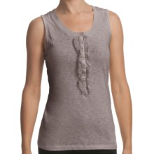 True Grit Cotton Rib-Knit Tank Top - Chiffon Trim (For Women) in Beach Grey - Closeouts