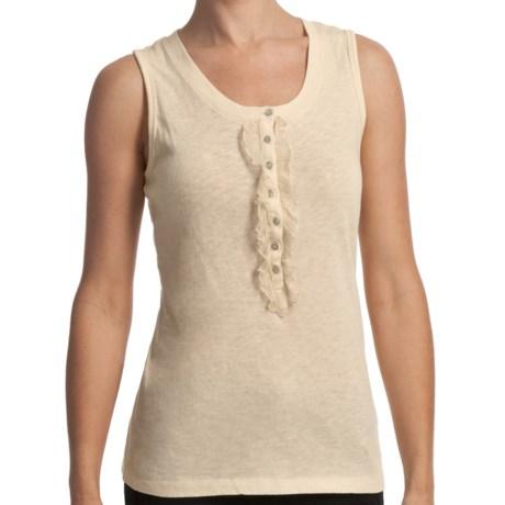 True Grit Cotton Rib-Knit Tank Top - Chiffon Trim (For Women) in Beach Grey
