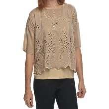True Grit Cotton-Silk Eyelet Shirt - Short Sleeve (For Women) in Khaki - Closeouts