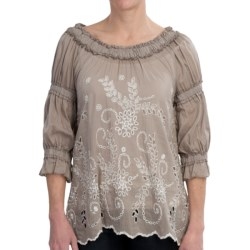 True Grit Cotton-Silk Ruffled Eyelet Shirt - 3/4 Sleeve (For Women) in Grey