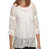 True Grit Cotton-Silk Ruffled Eyelet Shirt - 3/4 Sleeve (For Women)