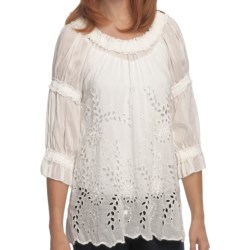 True Grit Cotton-Silk Ruffled Eyelet Shirt - 3/4 Sleeve (For Women) in White