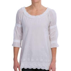 True Grit Crochet and Ruffle Shirt - 3/4 Sleeve (For Women) in Light White