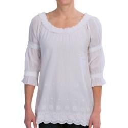 True Grit Crochet and Ruffle Shirt - 3/4 Sleeve (For Women) in Light White