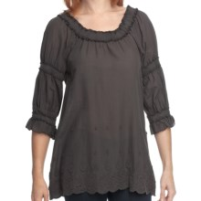 True Grit Crochet and Ruffle Shirt - 3/4 Sleeve (For Women) in Vintage Black - Closeouts