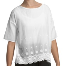 True Grit Crochet Border Shirt - Cotton, Short Sleeve (For Women) in Light White - Closeouts