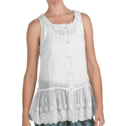 True Grit Cutout Cotton Border Button Tank Top (For Women) in Light White
