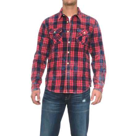 True Grit Distressed Flannel Shirt Jacket (For Men) in Red/Blue - Closeouts
