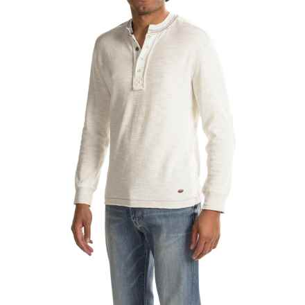 True Grit Double-Weave Snap Henley Shirt - Long Sleeve (For Men) in Chalk - Closeouts
