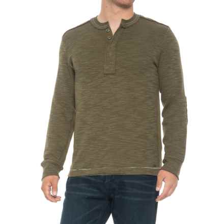 True Grit Double-Weave Snap Henley Shirt - Long Sleeve (For Men) in Olive - Overstock
