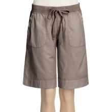 True Grit Drawstring Cargo Shorts - Cotton Canvas (For Women) in Cocoa - Closeouts