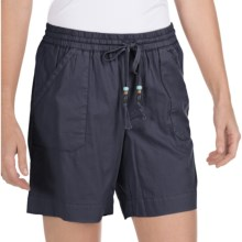 True Grit Drawstring Waist Camp Shorts - Cotton Canvas (For Women) in Indigo - Closeouts