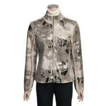 True Grit Embossed Vintage Rose Jacket - Full Zip (For Women) in Ivory - Closeouts