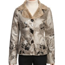 True Grit Embossed Vintage Rose Jacket - Shawl Collar (For Women) in Ivory - Closeouts