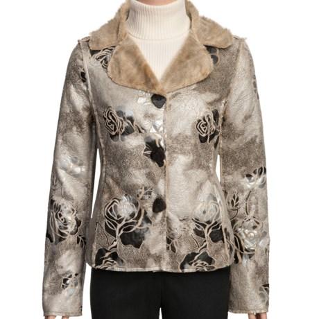 True Grit Embossed Vintage Rose Jacket - Shawl Collar (For Women) in Ivory