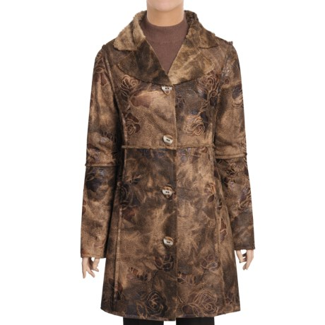 True Grit Embossed Vintage Rose Long Coat - Shawl Collar (For Women) in Brown