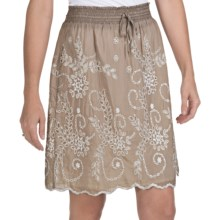 True Grit Eyelet Skirt - Cotton-Silk, Fully Lined (For Women) in Grey - Closeouts