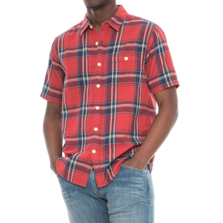 True Grit Fire Plaid Shirt - Short Sleeve (For Men) in Red