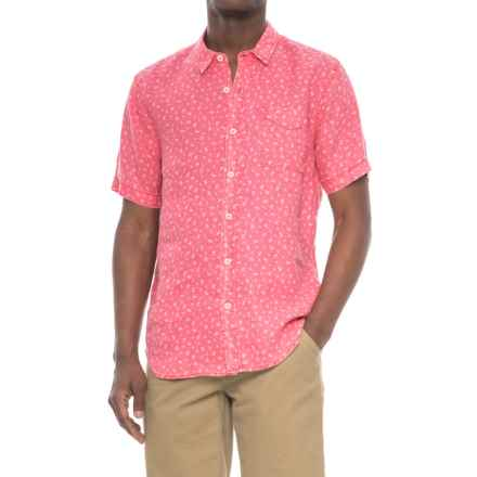 True Grit Floral Lux Linen Shirt - Short Sleeve (For Men) in Soft Red - Closeouts