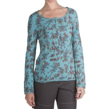 True Grit Floral Slub Knit Henley Shirt - Crystal Button, Long Sleeve (For Women) in Blue - Closeouts