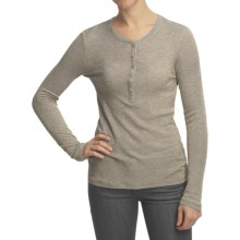 True Grit Gold-Knit Button Henley Shirt - Long Sleeve (For Women) in Heather Gold - Closeouts