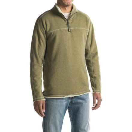 True Grit Heather Fleece-Lined Sweatshirt - Zip Neck (For Men) in Vintage Sage - Closeouts