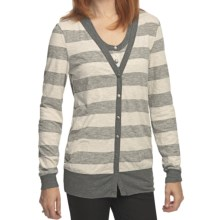 True Grit Heather Stripes Long Cardigan Sweater - Snap Front (For Women) in Oatmeal/Charcoal - Closeouts