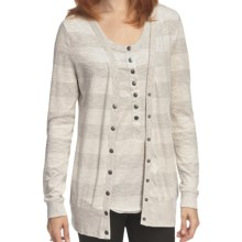 True Grit Heather Stripes Long Cardigan Sweater - Snap Front (For Women) in Oatmeal/Heather - Closeouts