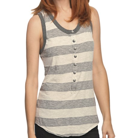True Grit Heather Stripes Racer Tank Top (For Women) in Oatmeal/Charcoal
