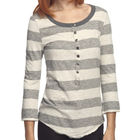 True Grit Heather Stripes Shirt - Snap Front, 3/4 Sleeve (For Women) in Oatmeal/Heather