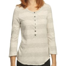 True Grit Heather Stripes Shirt - Snap Front, 3/4 Sleeve (For Women) in Oatmeal/Heather - Closeouts
