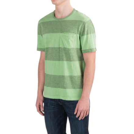 True Grit Heathered Wide Stripe T-Shirt - Short Sleeve (For Men) in Limelight - Closeouts