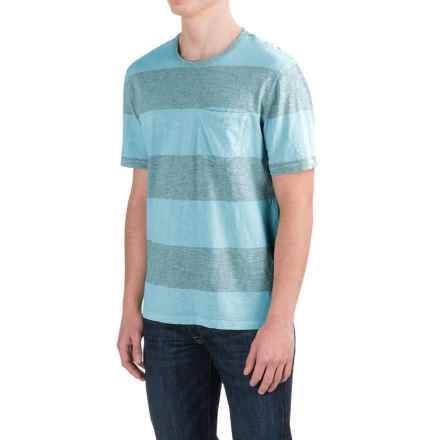 True Grit Heathered Wide Stripe T-Shirt - Short Sleeve (For Men) in Soft Blue - Closeouts