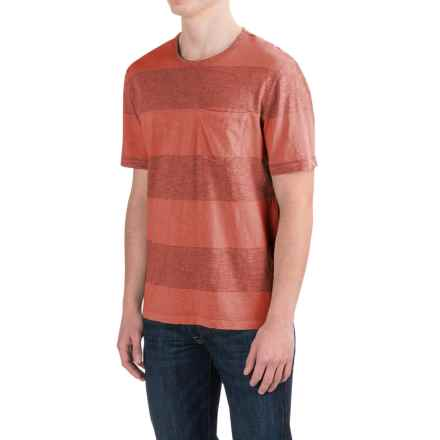 True Grit Heathered Wide Stripe T-Shirt - Short Sleeve (For Men) in Washed Red - Closeouts