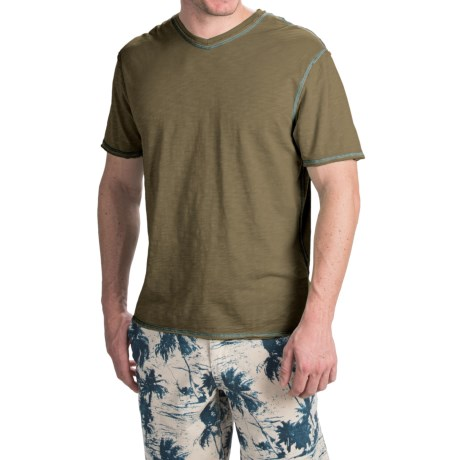 True Grit Heritage Slub Shirt V Neck, Short Sleeve (For Men)