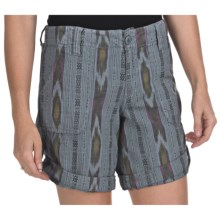 True Grit Ikat Shorts - Roll Bottom (For Women) in Bleached Denim - Closeouts