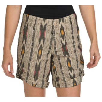 True Grit Ikat Shorts - Roll Bottom (For Women) in Vintage Khaki