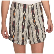 True Grit Ikat Shorts - Roll Bottom (For Women) in White - Closeouts