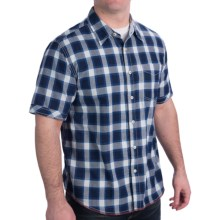 True Grit Indigo Plaid Shirt - Short Sleeve (For Men) in White - Closeouts