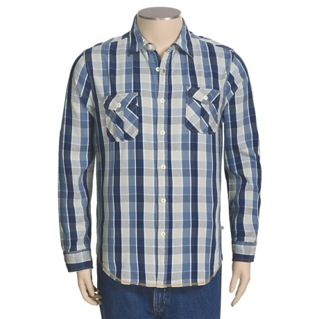 True Grit Indigo Shirt - Long Roll-Up Sleeve (For Men) in Indigo Check