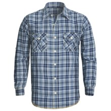 True Grit Indigo Shirt - Long Roll-Up Sleeve (For Men) in Indigo Plaid - Closeouts