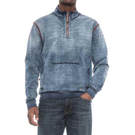 True Grit Indigo Slub Fleece Shirt - Zip Neck, Long Sleeve (For Men) in Faded - Closeouts