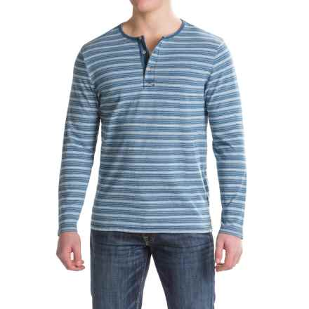 True Grit Indigo Stripe Henley Shirt - Long Sleeve (For Men) in Denim - Closeouts
