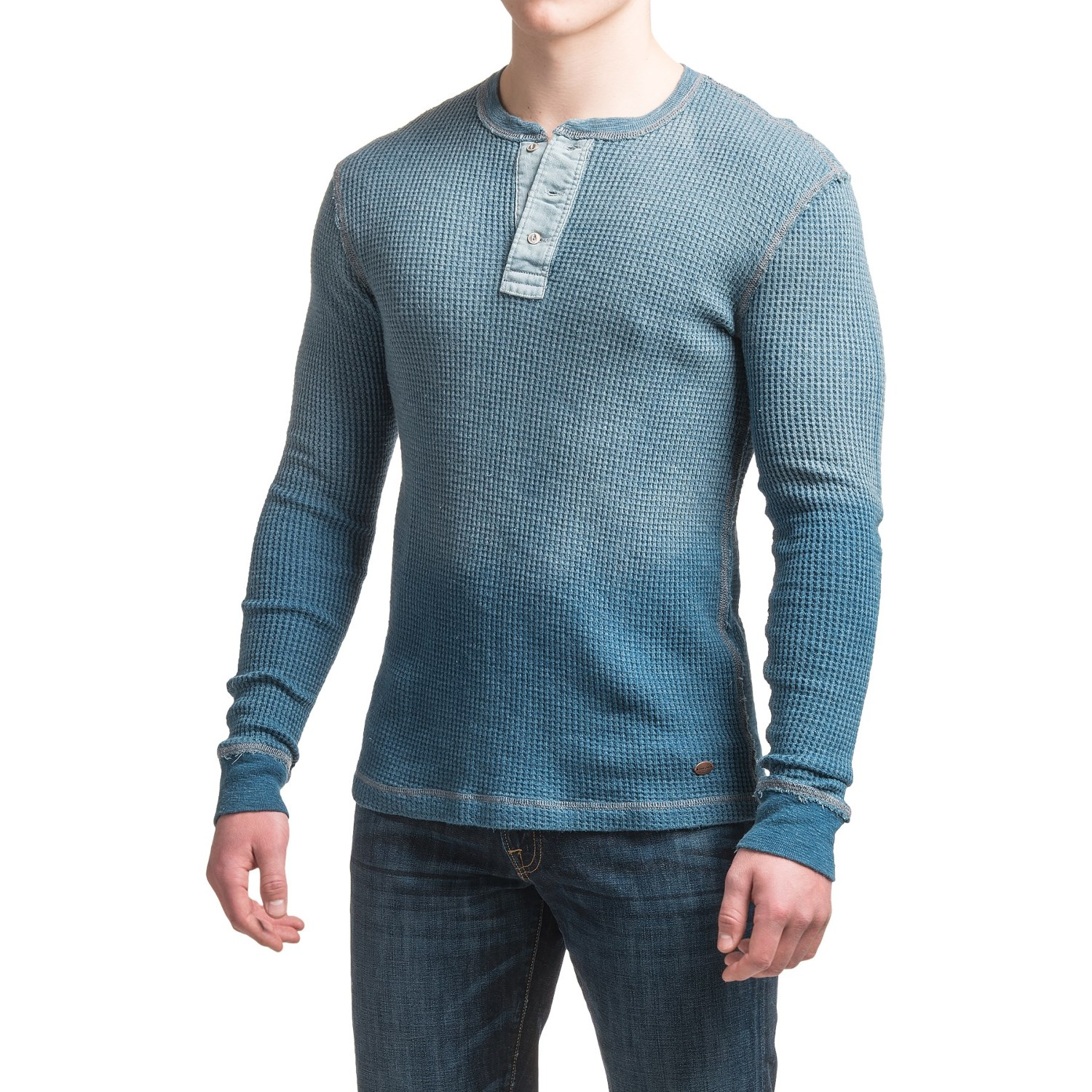 True grit indigo thermal henley shirt for men save 80 for Men s thermal henley long sleeve shirts