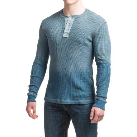 True Grit Indigo Thermal Henley Shirt - Long Sleeve (For Men) in Denim - Closeouts