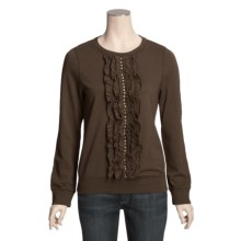 True Grit Knit Ruffle Sweatshirt (For Women) in Dark Brown - Closeouts
