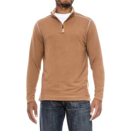 True Grit Lightweight TENCEL® Shirt - Zip Neck, Long Sleeve (For Men) in Dark Rye - Closeouts