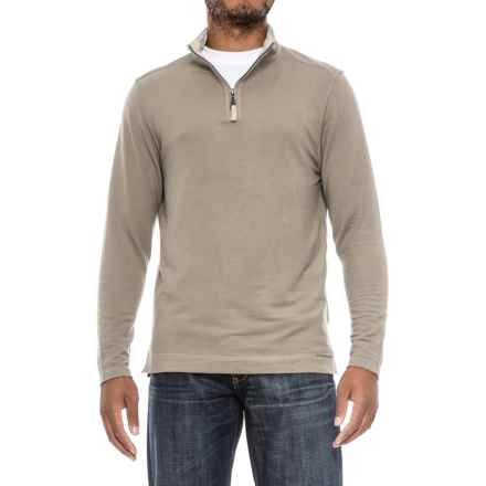 True Grit Lightweight TENCEL® Shirt - Zip Neck, Long Sleeve (For Men) in Pebble - Closeouts