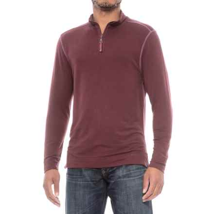 True Grit Lightweight TENCEL® Shirt - Zip Neck, Long Sleeve (For Men) in Port - Closeouts