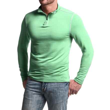 True Grit Lightweight TENCEL® Shirt - Zip Neck, Long Sleeve (For Men) in Surf Green - Closeouts